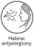 Materac antyalergiczny - ubrany w pokrowiec wolny od substancji szkodliwych dla zdrowia, nie zawierający surowców potencjalnie alergogennych