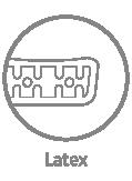 Lateks - skład i struktura, która zapewnia materacom wysoki stopień elastyczności, a system kanalików wewnątrz lateksu poprawia ich sprężystość i wentylację. Lateks posiada właściwości antybakteryjne i przeciwgrzybiczne.